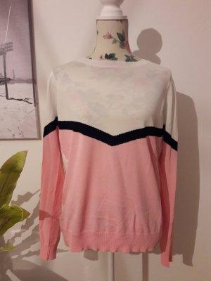Retro Strickpullover, weiß-rosa, von VILA, neu