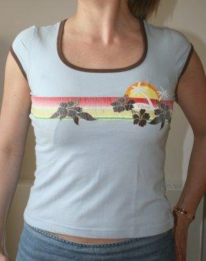 Retro Surfer Print Rundshirt