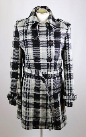 Retro Trenchcoat Mantel Übergangsmantel World of Wissmach Größe M 38 Wolle Schwarz Grau Weiß Karo Glencheck Trench Coat