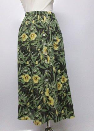 Retro Tropical Midi Rock Frankenwälder Größe 42 44 Knopfleiste Grün Gelb Krepp Rockabilly Perlmutt Viskose Zipfel 40er 50er Look