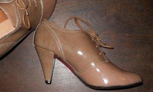 Retro Vintage Rockabilly Lack High Heels Stiefeletten nude beige braun Gr. 39