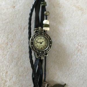 Retro Vintage zierliche Damenuhr - Leder - Bettelarmband - voll funktionsfähig - schwarz