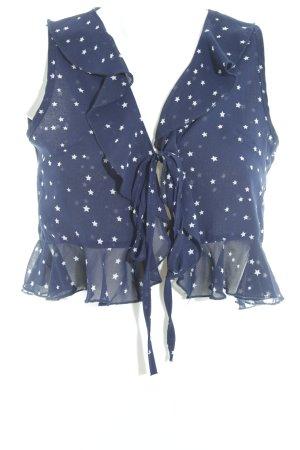 Reverse ärmellose Bluse dunkelblau-weiß Sternenmuster Casual-Look