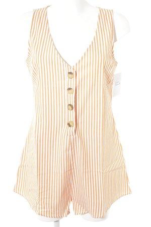 Reverse Jumpsuit weiß-hellorange Streifenmuster Casual-Look