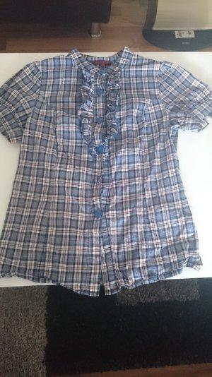 REVIEW bluse mit Rüschen und blauem karo muster