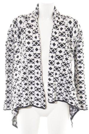 Review Cardigan schwarz-weiß Allover-Druck Street-Fashion-Look