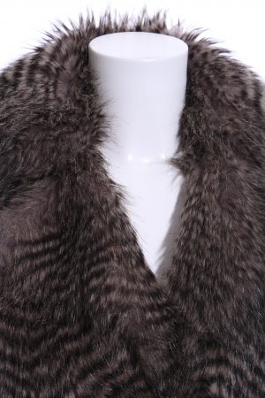 Review Fur vest dark grey-dark brown casual look