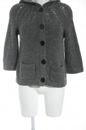 Review Coarse Knitted Jacket dark grey casual look