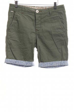Review High-Waist-Shorts khaki-blau grafisches Muster Casual-Look