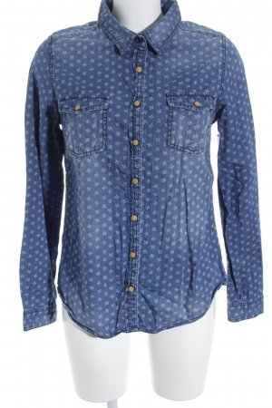 Review Jeansbluse blau abstraktes Muster Casual-Look