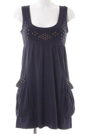Review Jersey Dress dark blue weave pattern casual look
