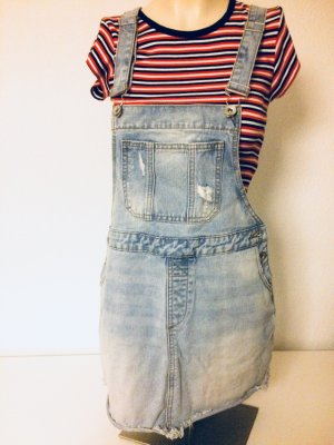 Review Pinafore Overall Skirt steel blue cotton