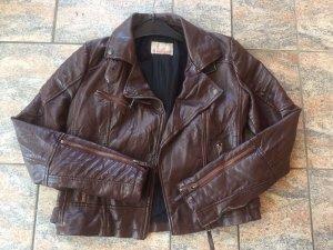 Review Veste en cuir synthétique brun faux cuir