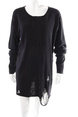 Review Jersey ancho negro modelo de punto flojo look gótico