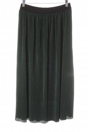 Review Pleated Skirt dark green wet-look