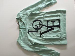 Review Pullover Dreiviertel-Arm Love-Aufdruck Mint-Farben Gr. S