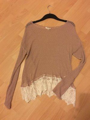 Review Pullover Shirt altrosa M 36 38 Strick Spitze Oversize P&C