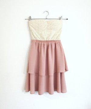 Review Rüschen Bandeau vintage süß Kleid rosa Spitze