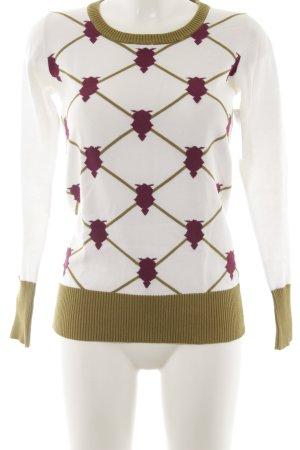Review Jersey de cuello redondo estampado con diseño abstracto estilo clásico