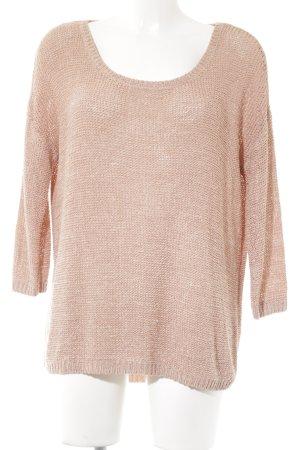 Review Jersey de cuello redondo rosa empolvado Patrón de tejido estilo clásico