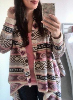Review S/M Cardigan Azteken vintage blogger hipster boho rosa nude