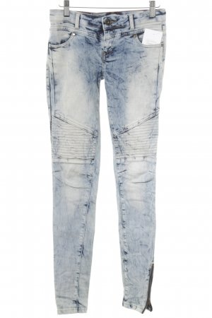 Review Skinny Jeans blau-wollweiß Washed-Optik