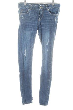 Review Skinny Jeans dunkelblau Destroy-Optik