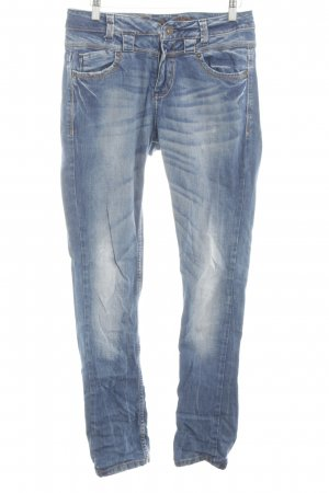 Review Slim jeans neon blauw-wit casual uitstraling