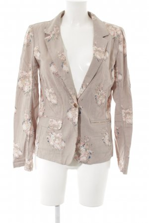Review Blazer sweat gris-rosé motif de fleur style simple