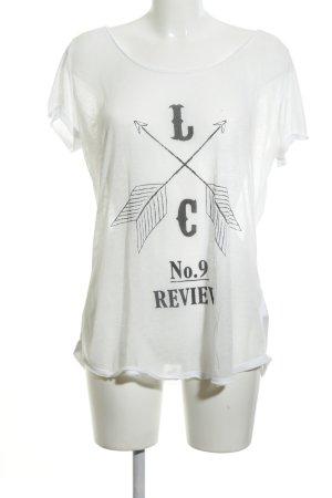 Review T-Shirt weiß Schriftzug gedruckt Casual-Look