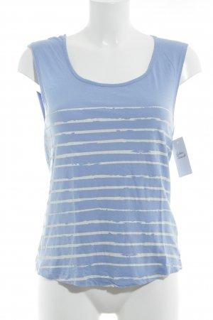 Review T-Shirt kornblumenblau-weiß Streifenmuster Casual-Look