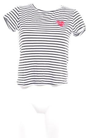 Review T-Shirt schwarz-weiß Streifenmuster Casual-Look