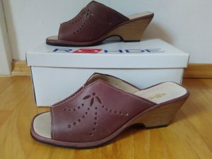 Mules sand brown-brown red leather