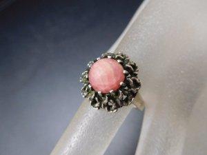 Rhodochrosit Edelstein Modernist Vintage Ring 835 Silber 70er Jahre Designer Silber Ring
