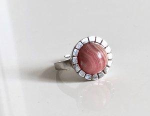 Rhodochrosit Edelstein Ring 835 silber Silberring mit rhodochrosit cabochon besatz
