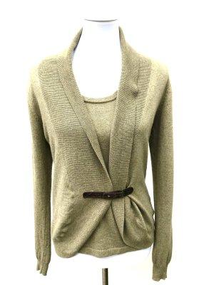 Riani Knitted Twin Set khaki wool