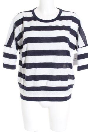 Riani Kurzarmpullover weiß-dunkelblau Streifenmuster Casual-Look