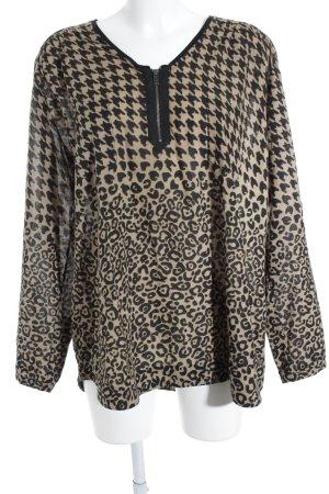 Riani Langarm-Bluse beige-schwarz Leomuster Safari-Look