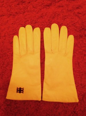 Riani Leather Gloves dark yellow leather