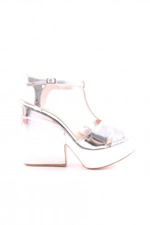 Riani Platform High-Heeled Sandal silver-colored extravagant style