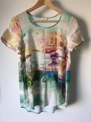 Riani Shirt Printshirt T-Shirt Miami Türkis 36 Baumwolle Seide