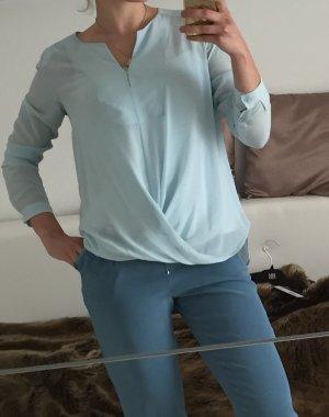 Riani Blusa de manga larga azul claro Seda