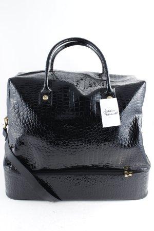 Ricarda M Reisetasche schwarz-goldfarben Animalmuster minimalistischer Stil