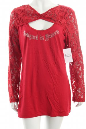 Ricarda M Sweatshirt rot Spitzen-Optik
