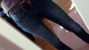 Jeans taille basse bleu acier coton