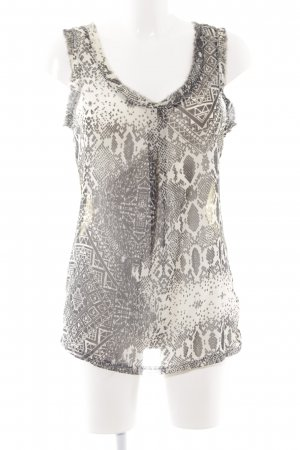 Rich & Royal ärmellose Bluse wollweiß-schwarz abstraktes Muster Casual-Look