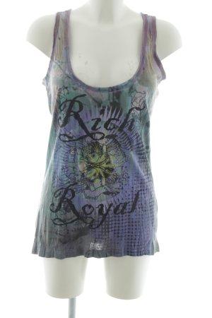 Rich & Royal Basic Top lila-türkis abstraktes Muster Casual-Look