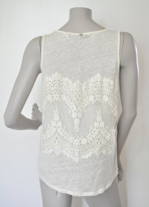 Rich & Royal Bluse Top 51Q432 Seide Leinen mit Spitze off-white Gr. M