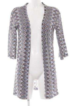 Rich & Royal Cardigan blassblau-hellbraun abstraktes Muster extravaganter Stil