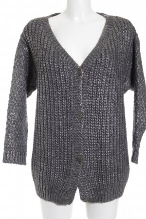 Rich & Royal Cardigan grau-silberfarben Lochstrickmuster Casual-Look
